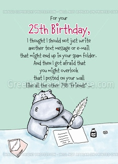 funny 25th birthday card messages ; what-to-write-in-a-25th-birthday-card-new-25th-birthday-humorous-whimsical-card-with-hippo-card-of-what-to-write-in-a-25th-birthday-card