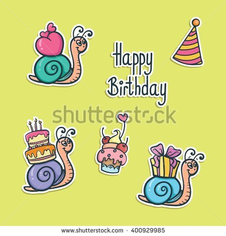 funny birthday stickers ; stock-vector-funny-birthday-stickers-with-snails-vector-illustration-400929985