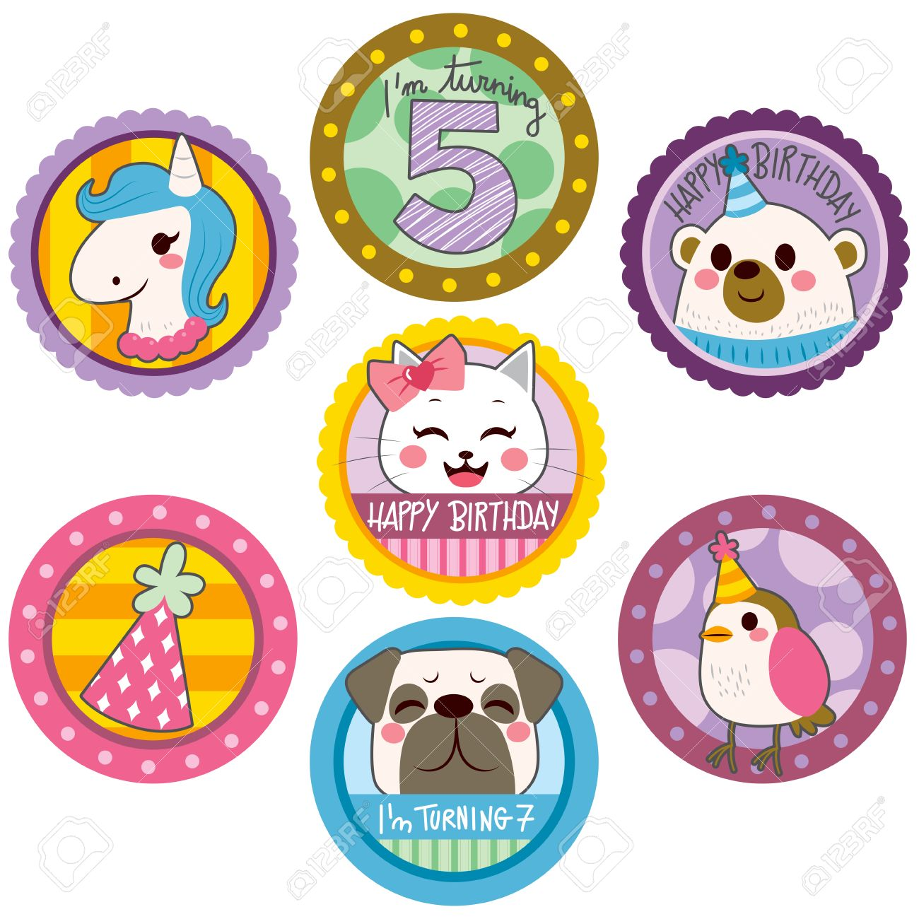 funny happy birthday stickers ; 55479693-happy-birthday-cute-stickers-of-funny-animals-and-party-elements