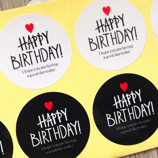 funny happy birthday stickers ; 80pcs-Black-White-HAPPY-BIRTHDAY-series-Adhesive-Kraft-Seal-Sticker-for-Baking-Gift-Label-Stickers-Funny
