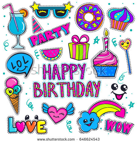 funny happy birthday stickers ; stock-vector-set-of-badges-for-girls-party-celebration-funny-happy-birthday-patch-stickers-colorful-candy-646624543