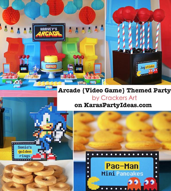 game themed birthday party ; Arcade-video-game-themed-birthday-party-via-Karas-Party-Ideas-KarasPartyIdeas