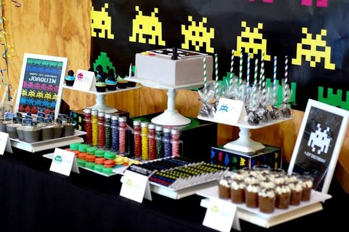 game themed birthday party ; bold-idea-game-themed-party-ideas-kara-s-space-invaders-first-birthday-decor