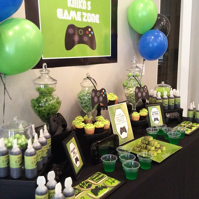 game themed birthday party ; draya-michele-son-kniko-video-game-themed-birthday-party-04-christal_rock-3