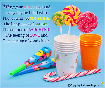 general birthday card messages ; happiness-of-smile-card