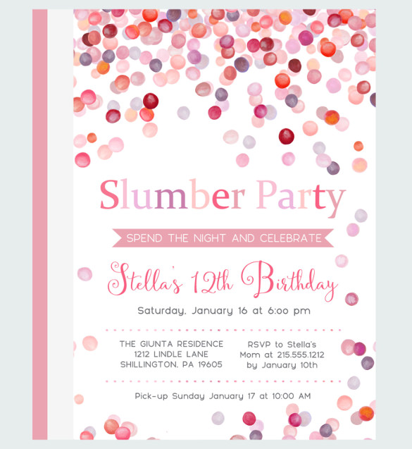 girl birthday party invitation template ; Water-Slumber-Party-Invitations-Girls-Sleepover-Birthday-Party