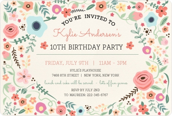 girl birthday party invitation template ; girly-floral-frame-birthdday-invitation_1966_1_large_rounded