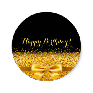gold happy birthday stickers ; happy_birthday_golden_bow_with_sparkle_on_black_classic_round_sticker-re4d8ff464123418497476233d68c264a_v9waf_8byvr_324