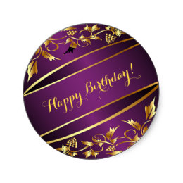 gold happy birthday stickers ; happy_birthday_purple_on_gold_colored_decor_classic_round_sticker-r2eef6cdde66e496f800d2c0e8af5ee04_v9waf_8byvr_260