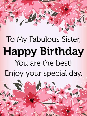 greeting card happy birthday my sister ; a-birthday-card-for-my-sister-to-my-fabulous-sister-birthday-flower-card-birthday-greeting