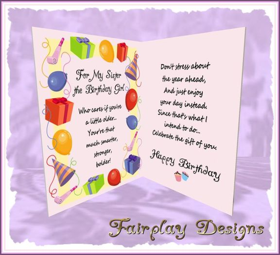 greeting card happy birthday my sister ; for-my-sister-the-birthday-girl-greeting-card