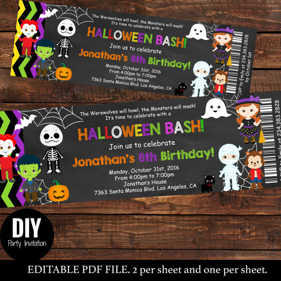 halloween birthday invitations with photo ; il_570xN