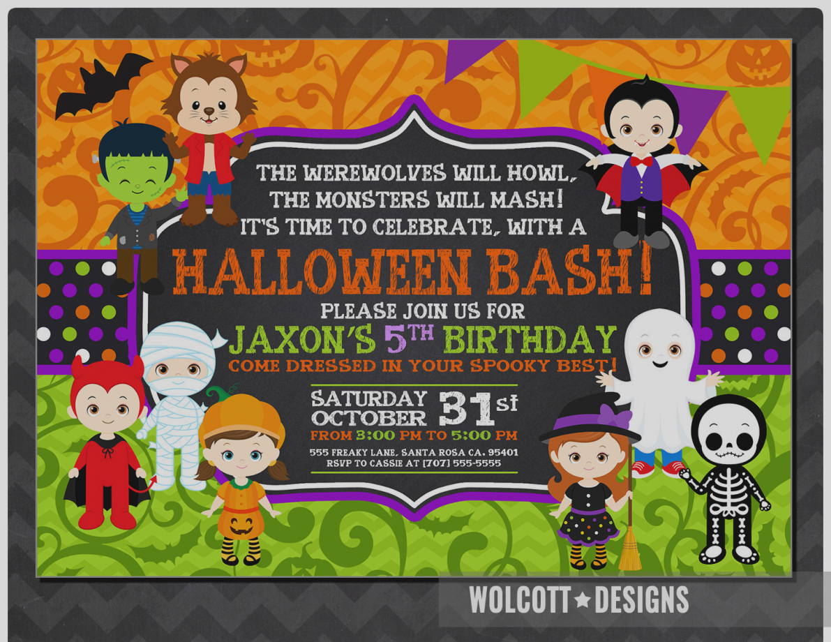 halloween birthday invitations with photo ; latest-kids-halloween-party-invitations-birthday-invitation