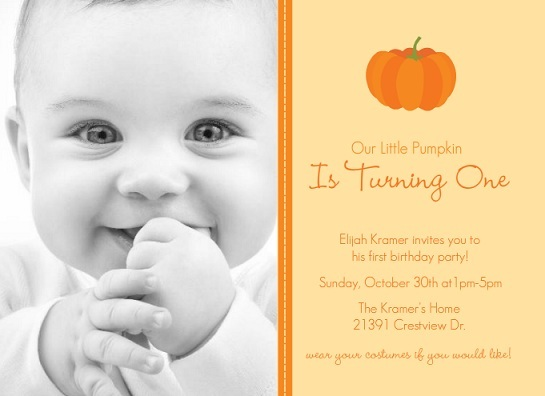 halloween first birthday photo invitations ; Our-Little-Pumpkin-Halloween-Birthday-Invitation