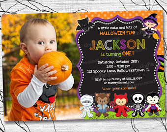 Halloween First Birthday Photo Invitations Il 340x270