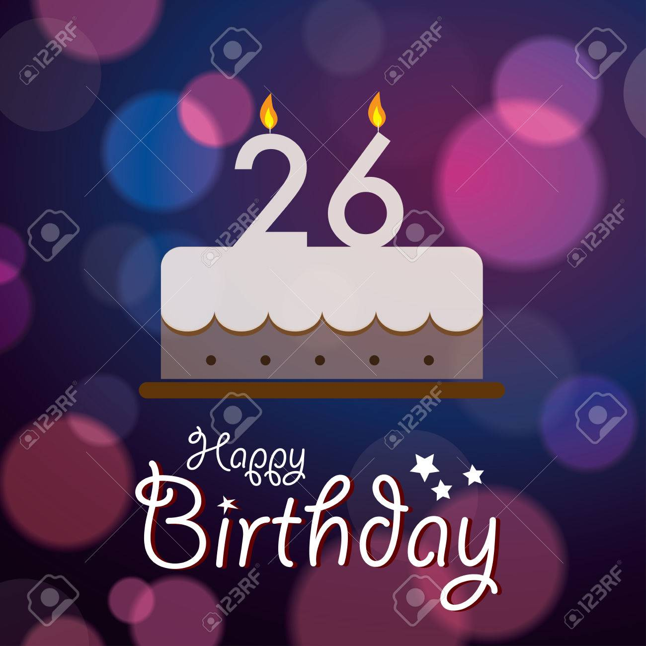 happy 26th birthday images ; 28592911-happy-26th-birthday-bokeh-vector-background-with-cake