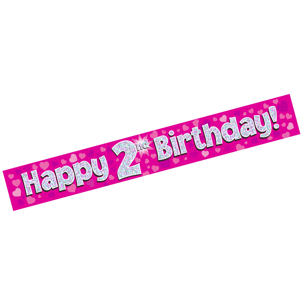 happy 2nd birthday banner ; WEBXL-676012-Banner-Happy-2nd-Birthday-Pink-Holographic_2