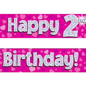 happy 2nd birthday banner ; pink-age-2-banner-big