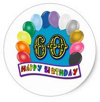happy 60th birthday stickers ; 1-5inch-60th-Happy-Birthday-Balloons-Merchandise-Classic-Round-Sticker