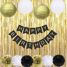 happy 75th birthday banner ; Black-Gold-Party-Decorations-with-Happy-Banner-lantern-flower-for-18th-20th-21st-30th-40th-50th