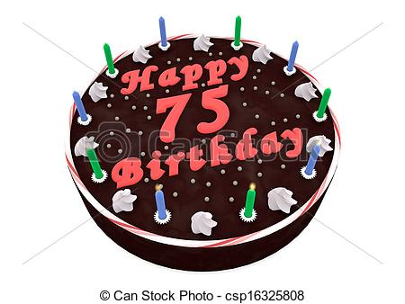 happy 75th birthday clipart ; chocolate-cake-for-75th-birthday-drawing_csp16325808