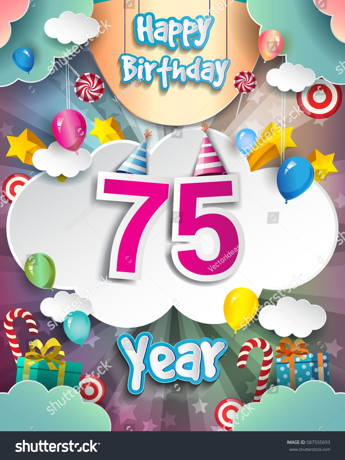 happy 75th birthday clipart ; stock-vector--th-birthday-celebration-greeting-card-design-with-clouds-and-balloons-vector-elements-for-the-587555693