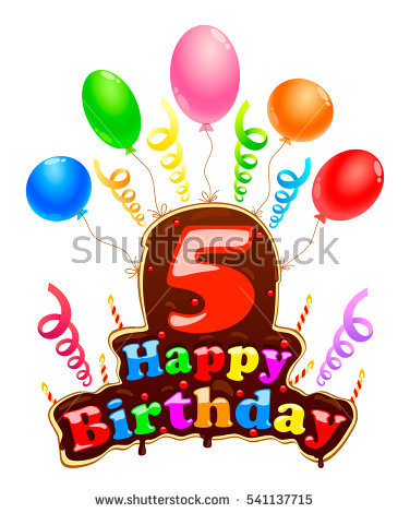 happy birthday 5 ; stock-vector-happy-birthday-sign-in-the-form-of-a-cake-banner-celebration-five-years-birthday-with-balloons-and-541137715