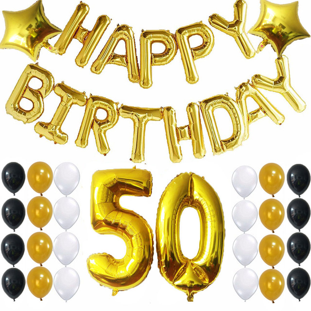 happy birthday 50 ; 41pcs-Happy-Birthday-Foil-Balloons-50-Number-Balloon-Gold-Balck-White-Latex-Balloons-for-birthday