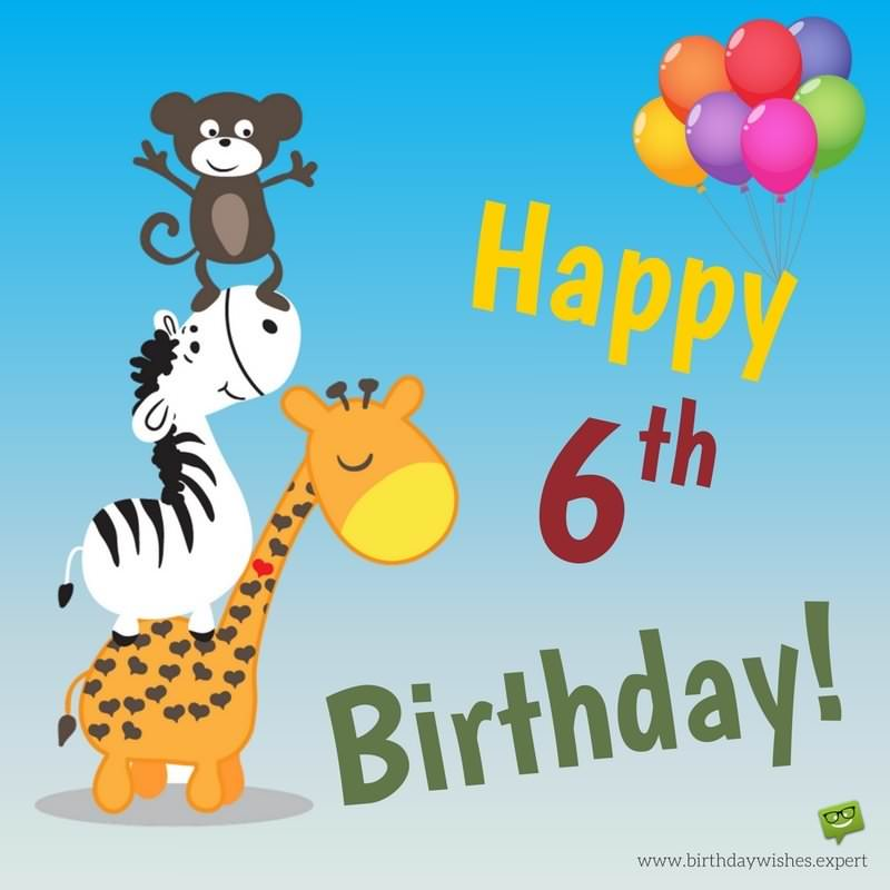 happy birthday 6 year old ; Birthday-wish-for-6-years-old-children-with-cute-animals