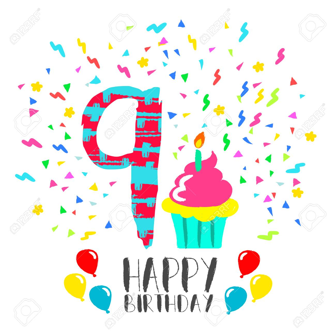 happy birthday 9 ; 66887030-happy-birthday-number-9-greeting-card-for-nine-year-in-fun-art-style-with-party-confetti-and-cake-an