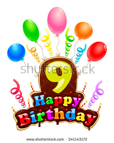 happy birthday 9 ; stock-vector-happy-birthday-sign-in-the-form-of-a-cake-banner-celebration-nine-years-birthday-with-balloons-and-541143172