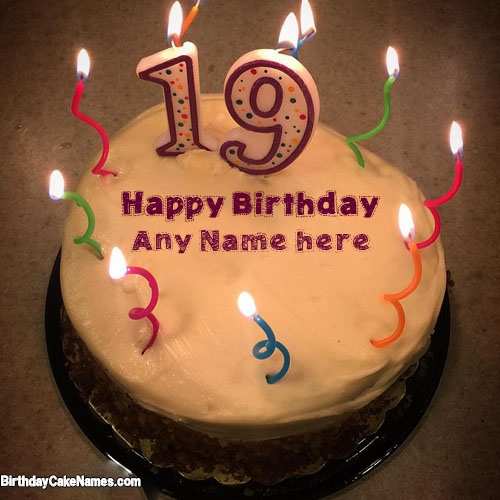 happy birthday any ; pineapple-candles-19th-birthday-cake-with-name
