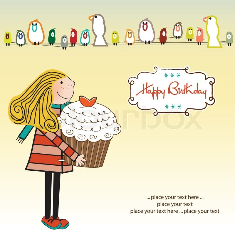 happy birthday artist images ; 4304634-happy-birthday-card-with-girl-and-cupcake