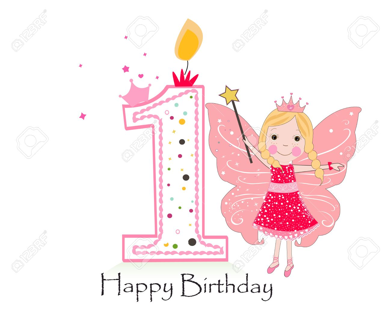 happy birthday baby girl ; 71929986-happy-first-birthday-candle-baby-girl-greeting-card-with-fairy-tale-vector-background