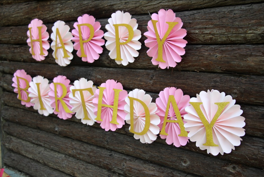 happy birthday backdrop decorations ; Paper-Rosettes-Blush-Decorations-Happy-Birthday-Backdrop-Paper-fans-Blush-Wedding-Pink-and-Gold-Birthday-Party
