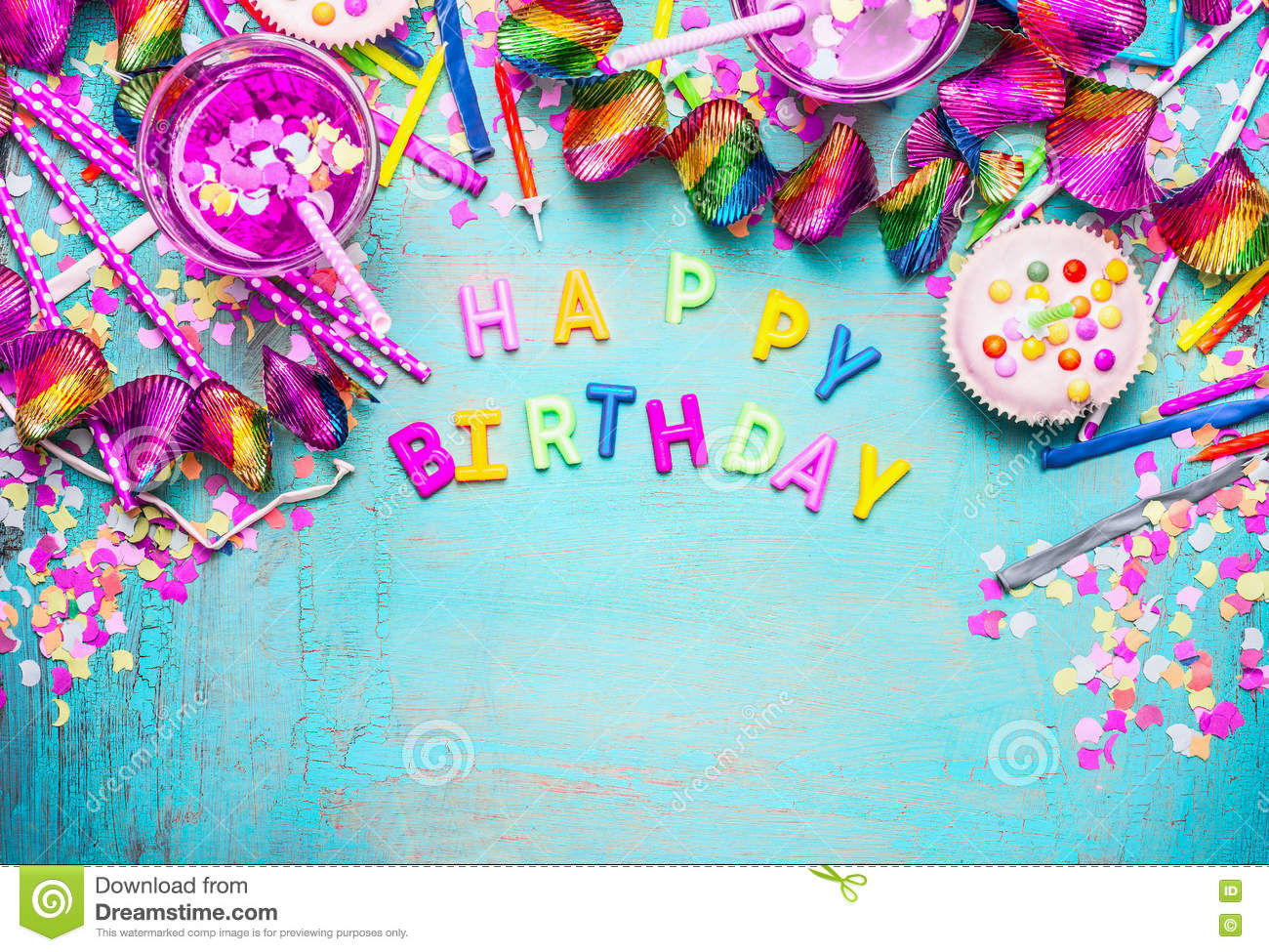 happy birthday backdrop decorations ; happy-birthday-background-letters-cake-drinks-pink-festive-decoration-turquoise-blue-shabby-chic-wooden-background-71419917