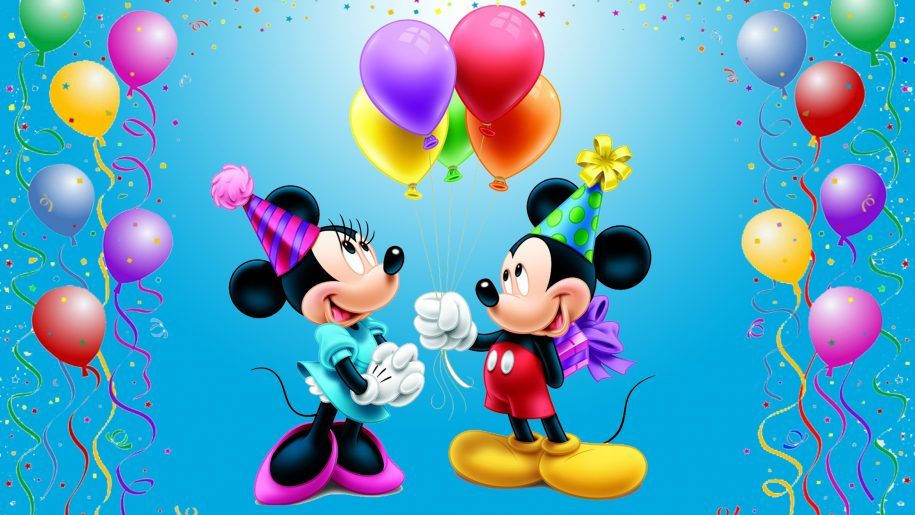 happy birthday balloons wallpaper ; Mickey-Mouse-Happy-Birthday-Minnie-Celebration-balloons-gifts-for-Mini-Disney-picture-Wallpaper-for-Desktop-2560x1600-915x515