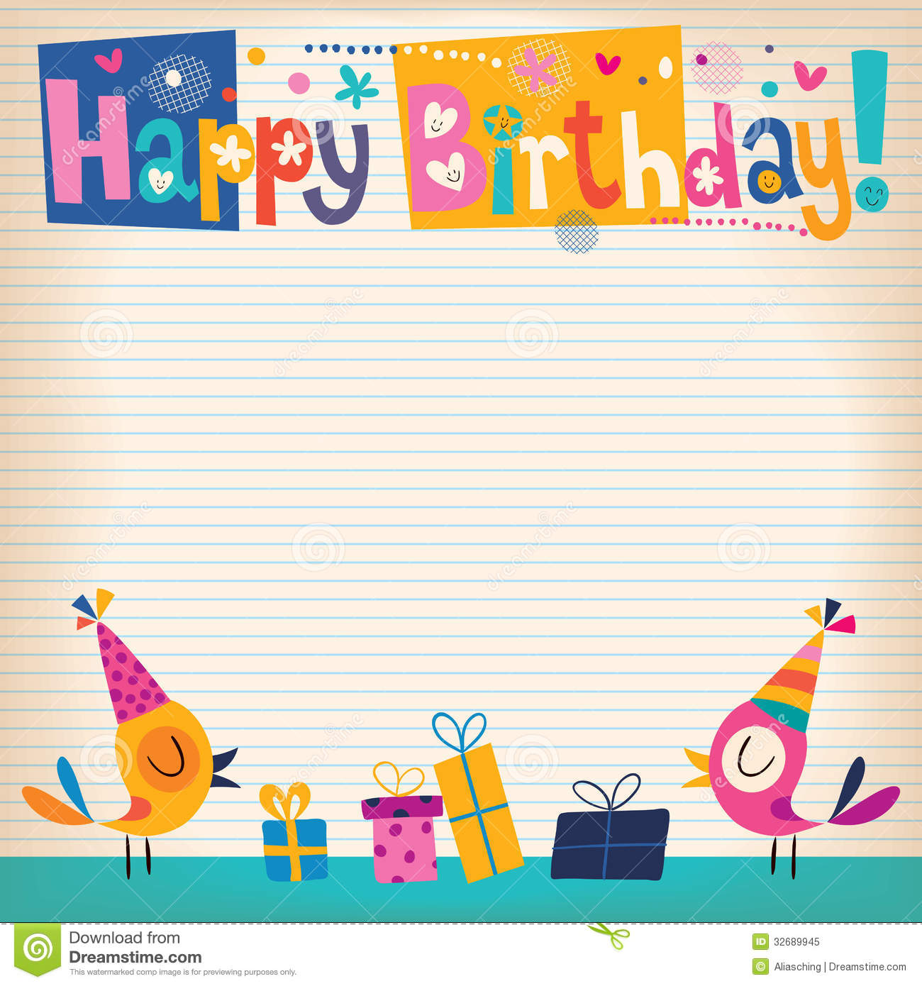 happy birthday border paper ; happy-birthday-card-lined-note-book-paper-32689945