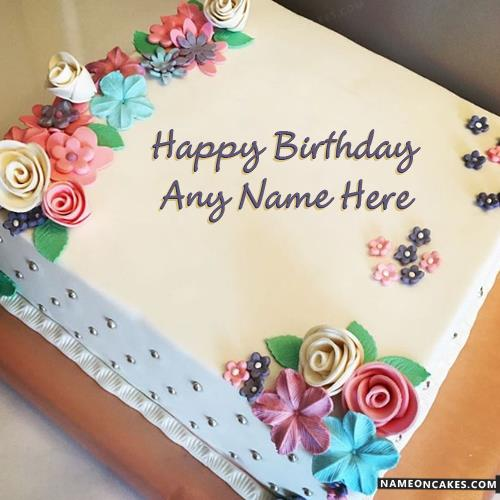 happy birthday cake for girl ; unique-flowers-birthday-cake-with-name-for-girls4368
