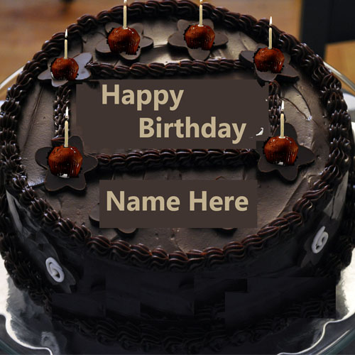 happy birthday cake pictures with name ; Write-Name-On-Chocolate-Happy-Birthday-Cake-With-Candle1461999031