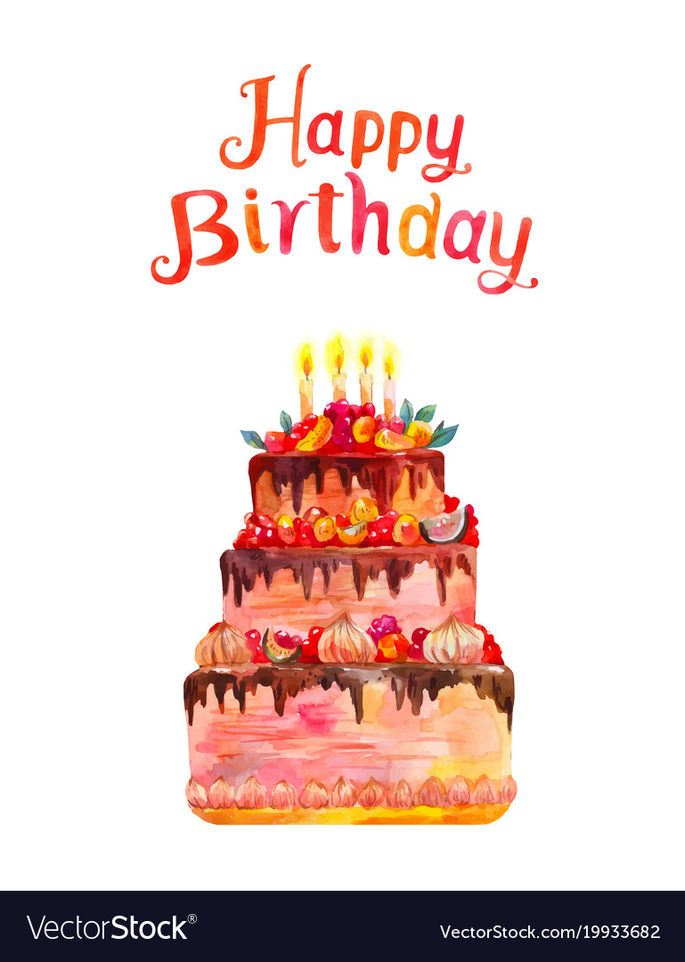 happy birthday cake poster ; greeting-card-or-poster-happy-birthday-watercolor-vector-19933682