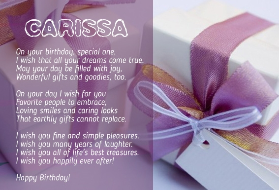 happy birthday carissa ; 5692
