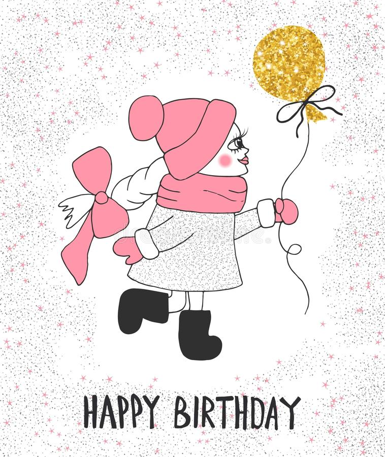 happy birthday cartoon drawing ; cute-little-girl-gold-balloon-hand-drawing-text-happy-birthday-82072833