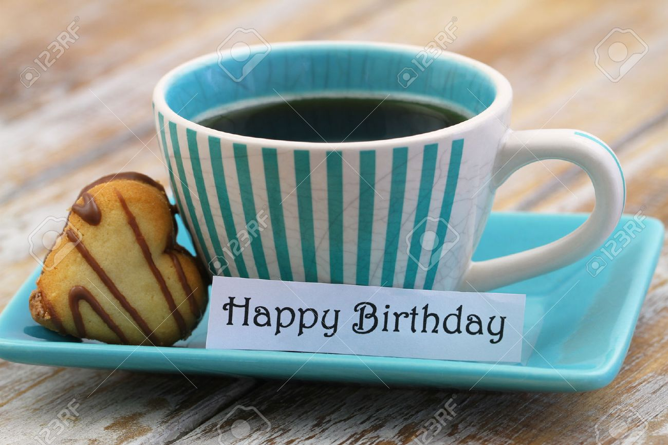 happy birthday coffee images ; 40228898-happy-birthday-card-with-cup-of-coffee-and-heart-shaped-cookie