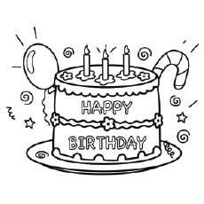 happy birthday coloring ; The-Birthday-Cake-coloring-page