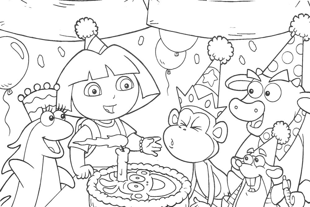 happy birthday coloring pages for friends ; dora-the-explorer-happy-birthday-coloring-pages-all-friends