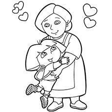 happy birthday coloring pages for grandmas ; the-dora-with-grandma