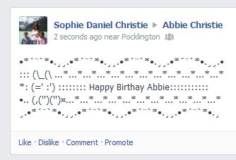 happy birthday copy and paste ; facebook_ascii_art