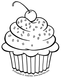 happy birthday cupcake coloring pages ; Cupcake-med