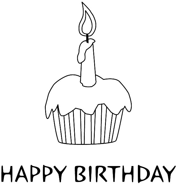 happy birthday cupcake coloring pages ; Happy-Birthday-Candle-on-Delicious-Cupcake-Coloring-Pages